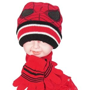 Other - Kids Winter Boys Girls Spider Hat + Scarf + Gloves